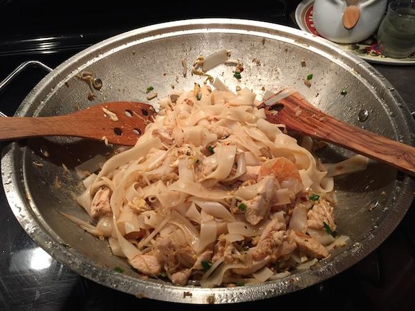 Stir Fried Chicken, Prawns, Noodles