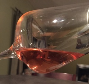 Wine has a pale orange color
