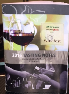 Tasting note book for 2016 winefest